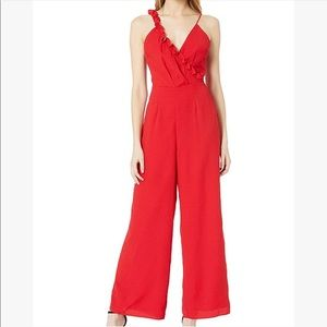 NWT xs keepsake the label red ruffle jumpsuit